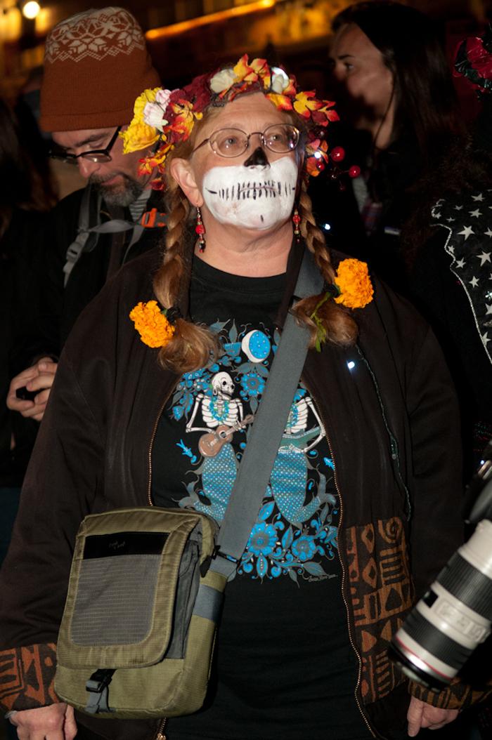 Woman with marigold braids. Photo: Naomi Fiss