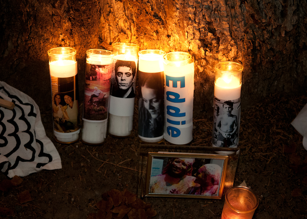 Candlelight memorial for Eddie, Lou Reed and others. Photo: Naomi Fiss