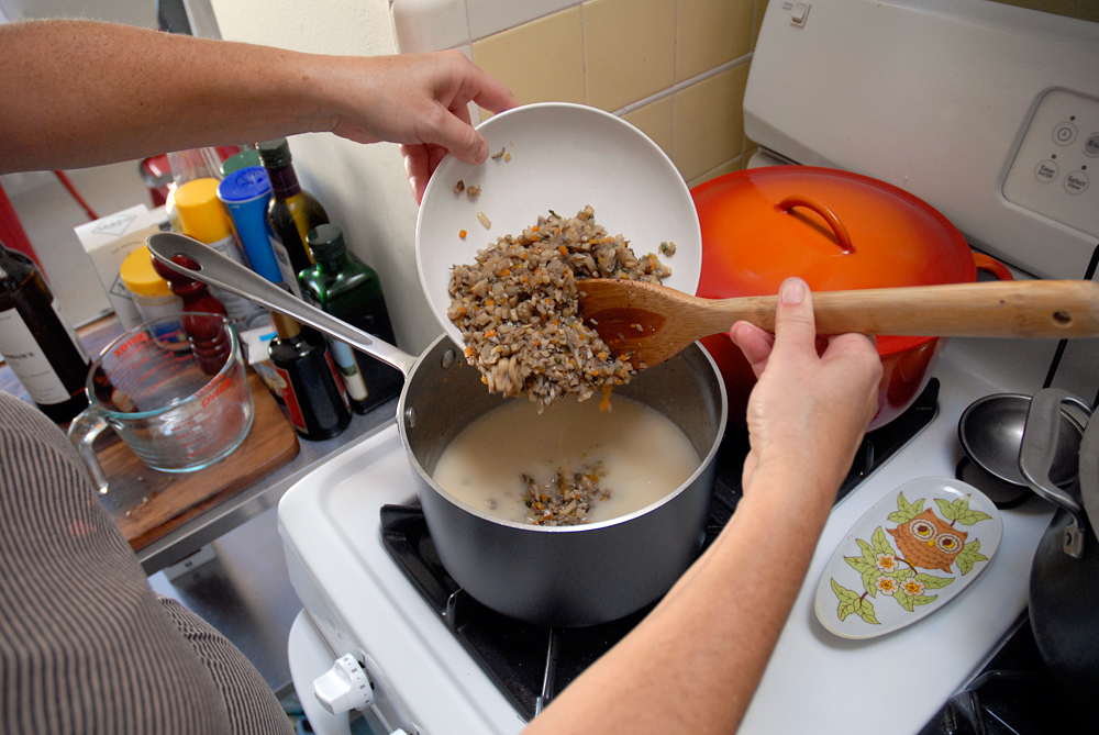 Return the mushroom mixture to the saucepan, stirring to combine. Photo: Wendy Goodfriend