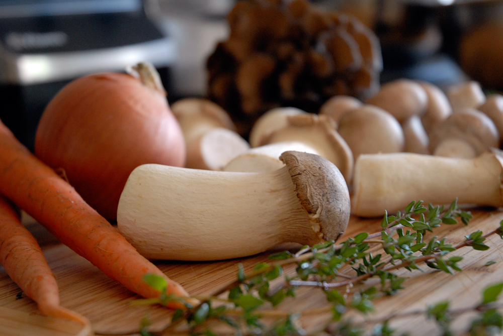Ingredients for Wild Mushroom gravy: trumpets, maitakes, thyme, carrots, onion. Photo: Wendy Goodfriend