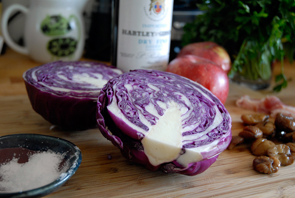 Ingredients for Braised Red Cabbage. Photo: Wendy Goodfriend