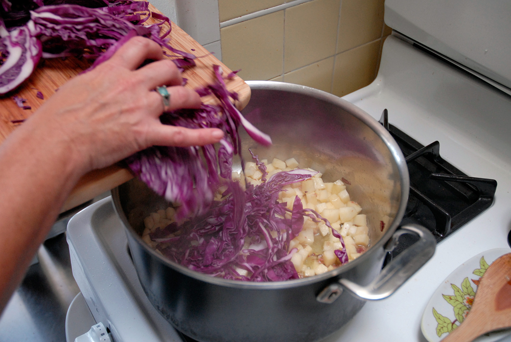 Add the sliced cabbage. Photo: Wendy Goodfriend