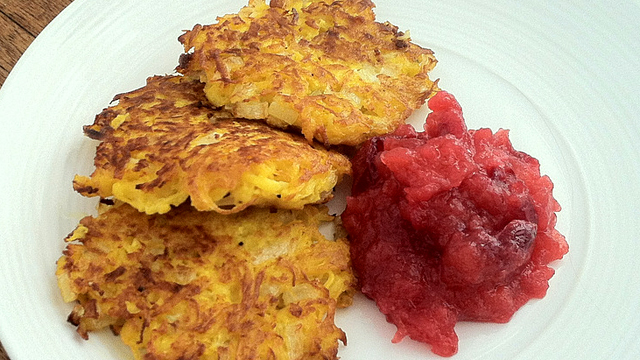 Savory Pumpkin LatkCelebrate Thanksgiving and Hanukkah on the same night by cooking pumpkin latkes, like these savory pancakes. Photo: Kate Williams