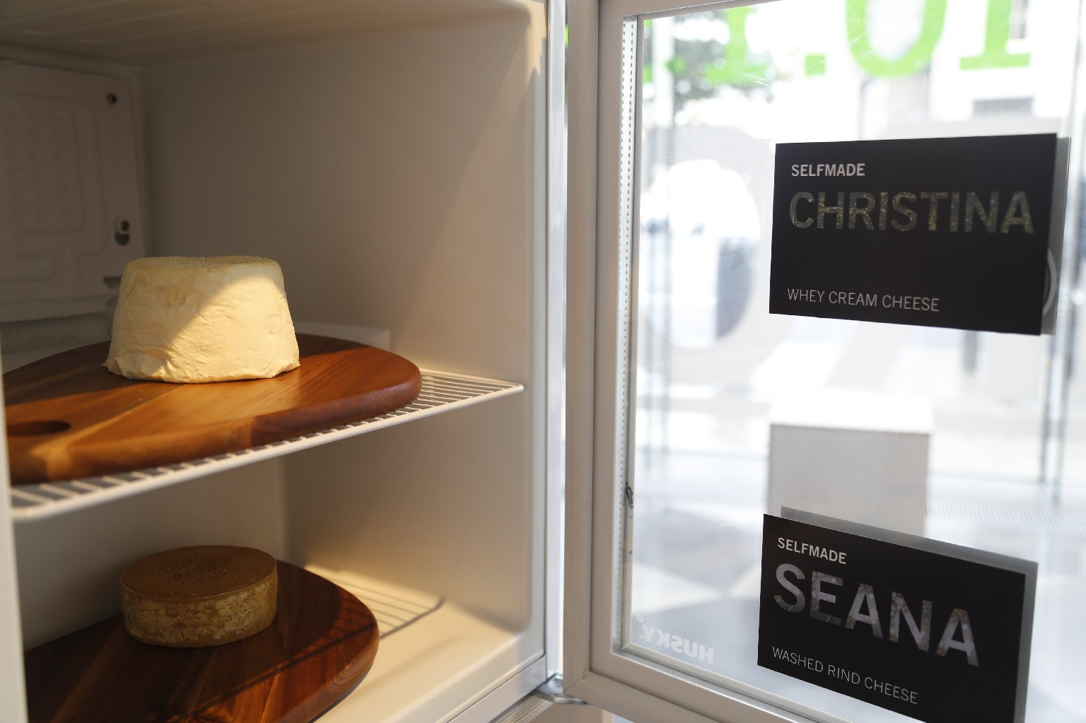 "The ""selfie"" cheeses are on display at the Science Gallery at Trinity College in Dublin. Photo: Courtesy of Science Gallery at Trinity College Dublin"