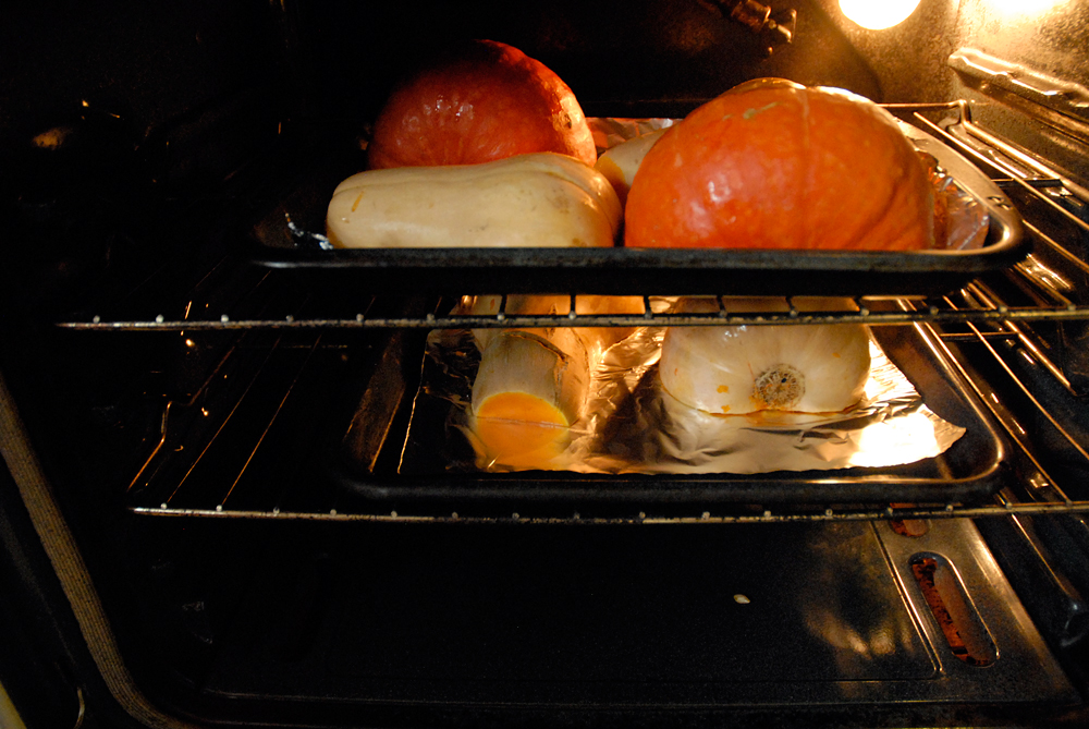 Put the squash halves face down on a baking sheet and roast in a preheated 400ºF oven until squishy and browned in spots, about 45-60 minutes. Photo: Wendy Goodfriend