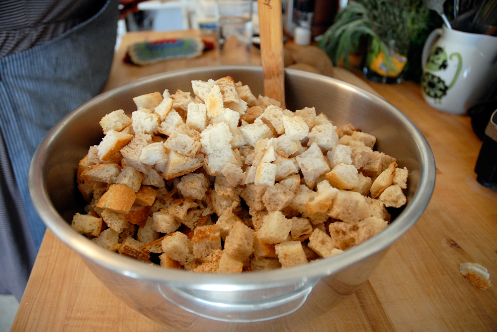 The bowl consisting of sauteed vegetables, sage, poultry seasoning, chestnuts and bread cubes. Photo: Wendy Goodfriend
