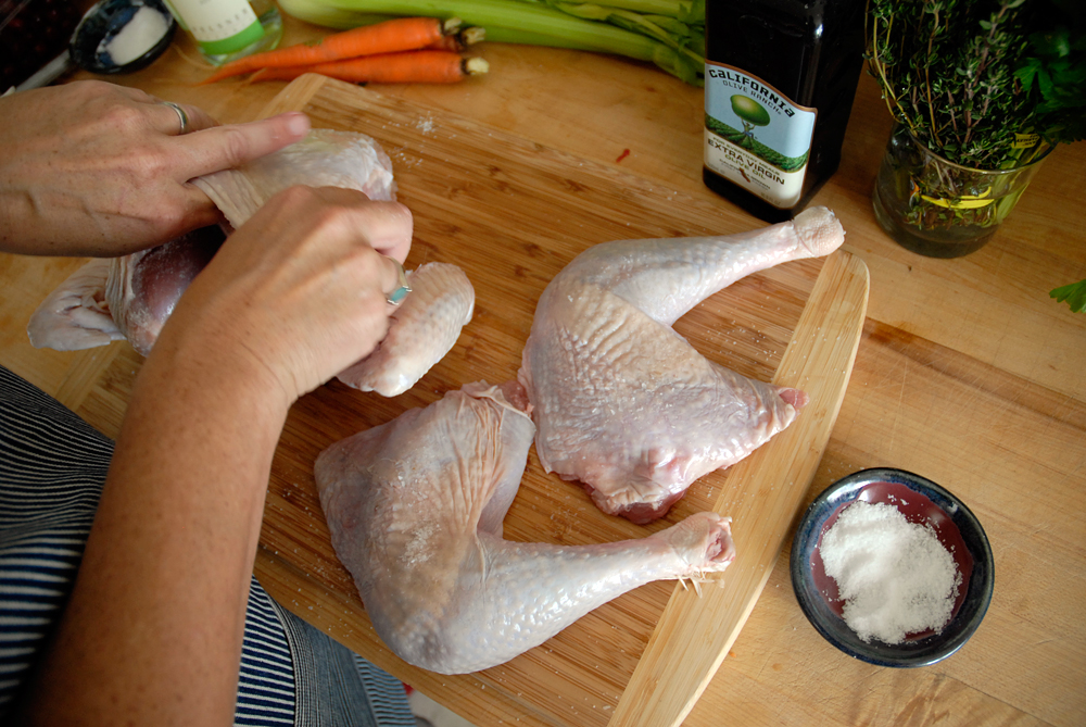 Rub kosher salt under the skin of the turkey parts. Photo: Wendy Goodfriend