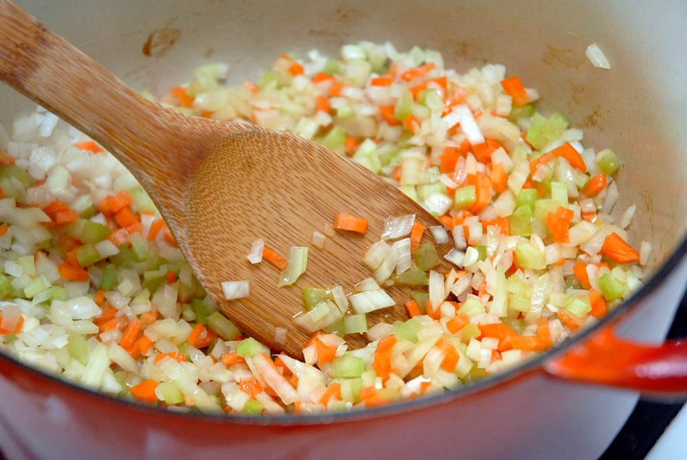 Saute, stirring occasionally, until the vegetables begin to soften, about 5 minutes. Photo: Wendy Goodfriend