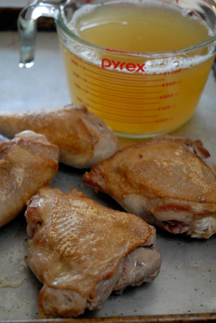 Prepare to add turkey stock and parts to veggies. Photo: Wendy Goodfriend