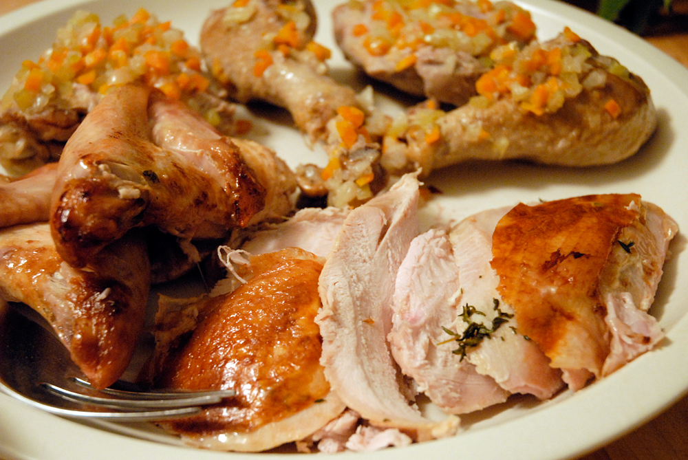 Remove the breast meat from the turkey carcass, and slice across the grain. Photo: Wendy Goodfriend