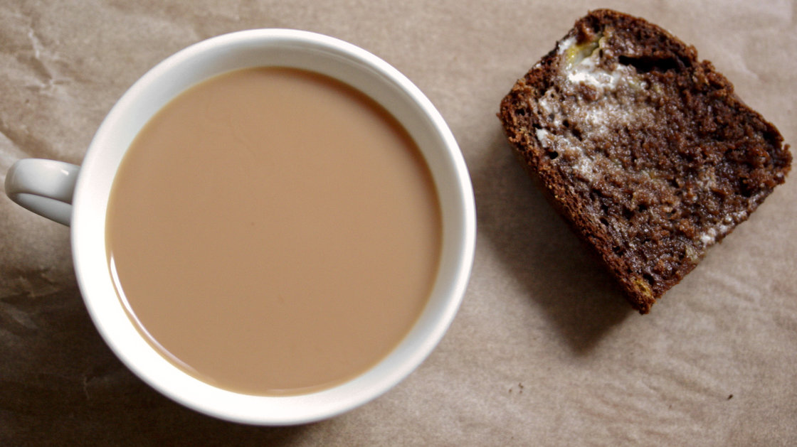 Banana-Cocoa Bread — made with homemade yogurt — is a perfect treat with coffee or tea. Photo: Nicole Spiridakis for NPR