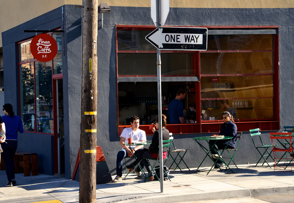Linea Caffe sits at the corner of 18th and San Carlos in the Mission district. Photo: Emmeline Chuu.