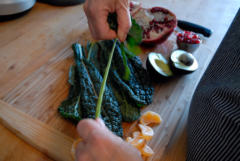 Strip the stems from the kale and discard. Photo: Wendy Goodfriend