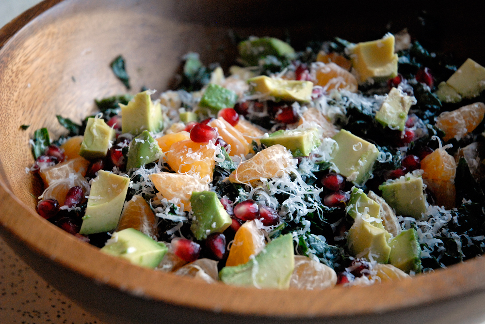 Christmas Kale Salad with Pomegranate,Tangerine and Avocado. Photo ...