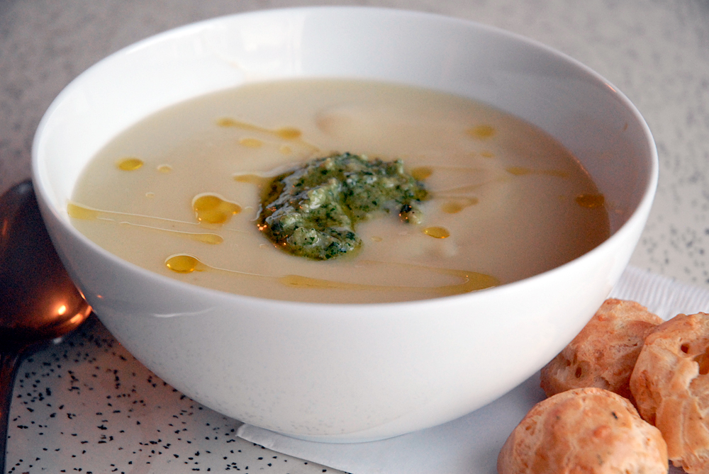 Jerusalem Artichoke (Sunchoke) Soup with Chestnut Pesto. Herb & Gruyere Gougères on the side. Photo: Wendy Goodfriend