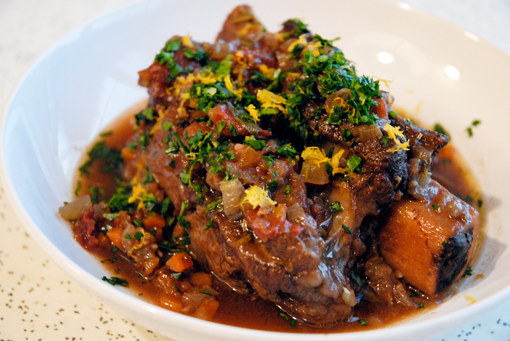 Serve the short ribs topped with some of the braising juices and vegetables and a healthy sprinkle of gremolata. Photo: Wendy Goodfriend
