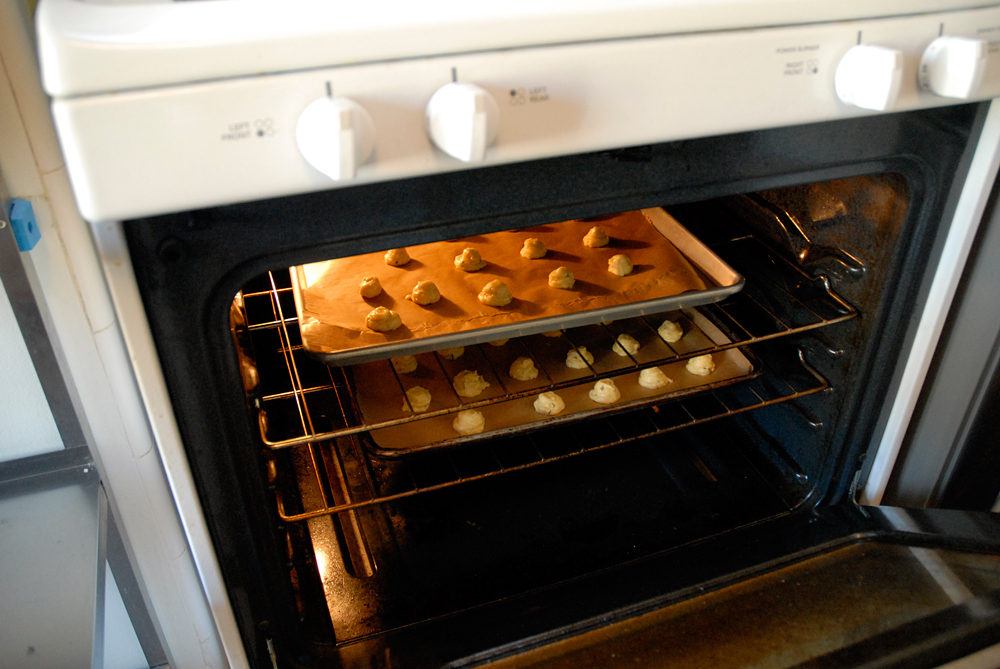 Bake for 8 minutes, then reduce the heat to 375°F (190°C), quickly swap the pans, and continue baking until golden brown, about 13 minutes. Photo: Wendy Goodfriend