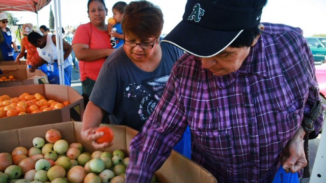 Food banks have become a primary source of nutrition for rural farmworker communities in the Central Valley. Photo: Scott Anger/KQED
