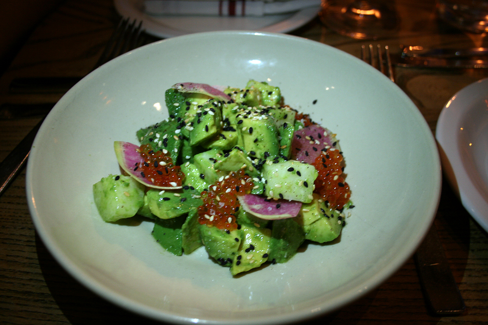 Starter of creamy avocado and jicama studded with sesame seeds and trout roe. Photo: Lauren Sloss