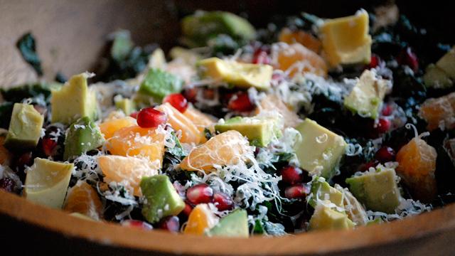 Christmas Kale Salad with Pomegranate,Tangerine and Avocado