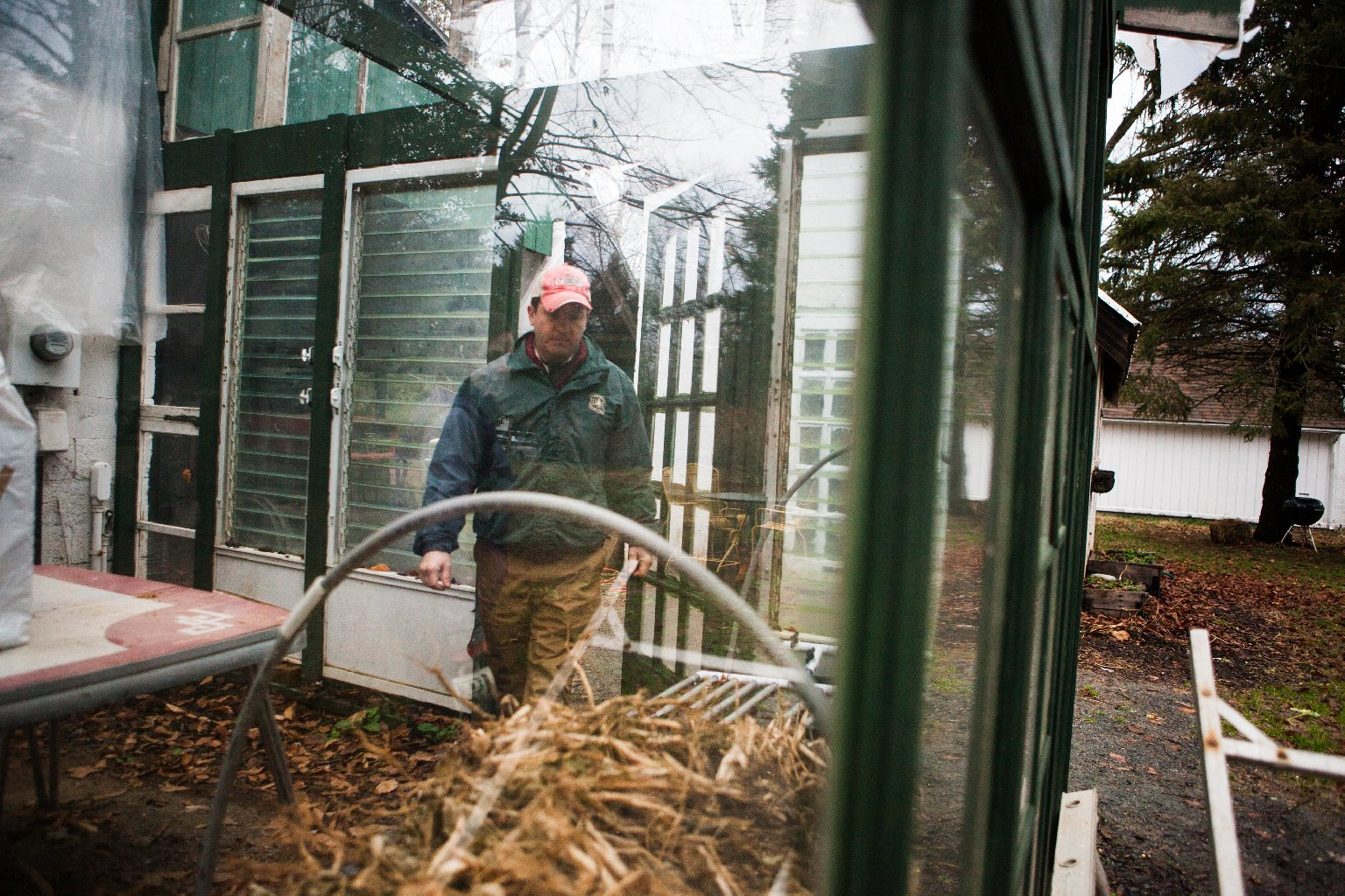 Guerre built this greenhouse out of recycled materials like old windows and doors. Photo: Zac Visco for NPR