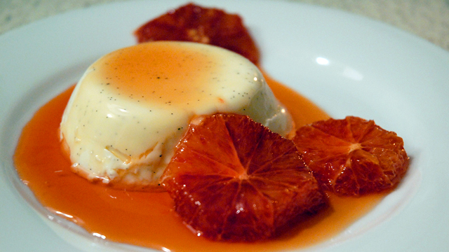 Decadent Dessert: Vanilla Panna Cotta with Caramelized Blood Oranges