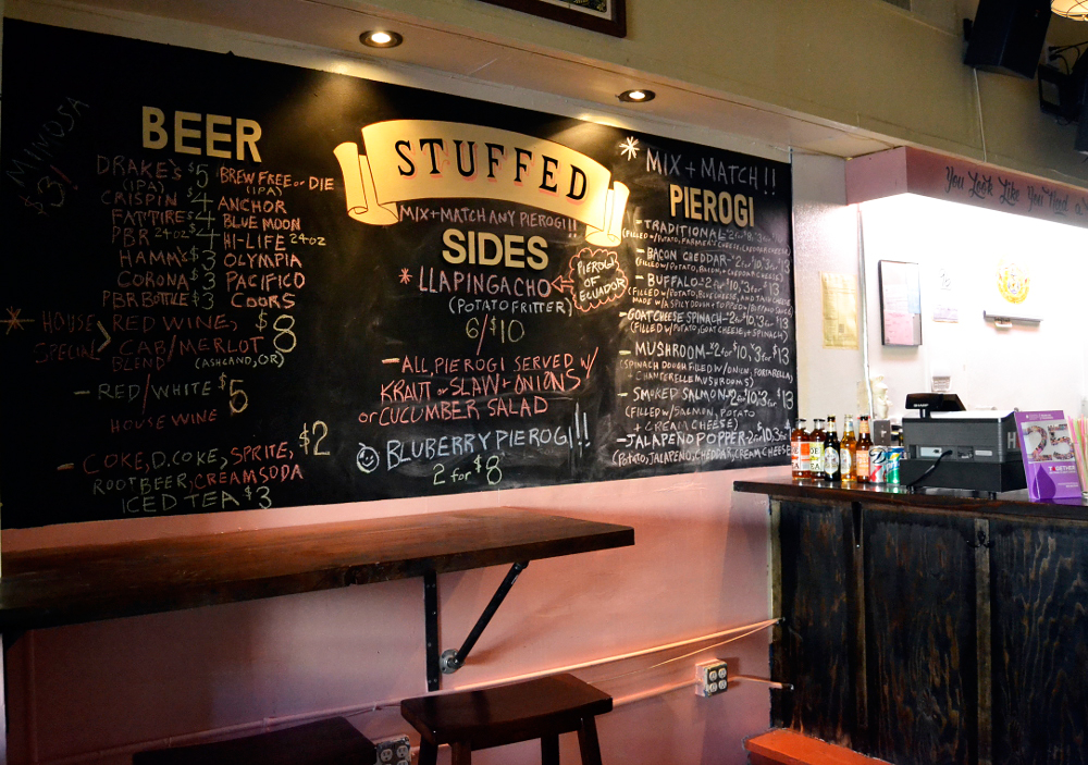Beer is the beverage of choice when eating Stuffed's pierogi. They hope to soon offer a couple of Midwestern beers to round out the drinks menu. Photo: Kate Williams