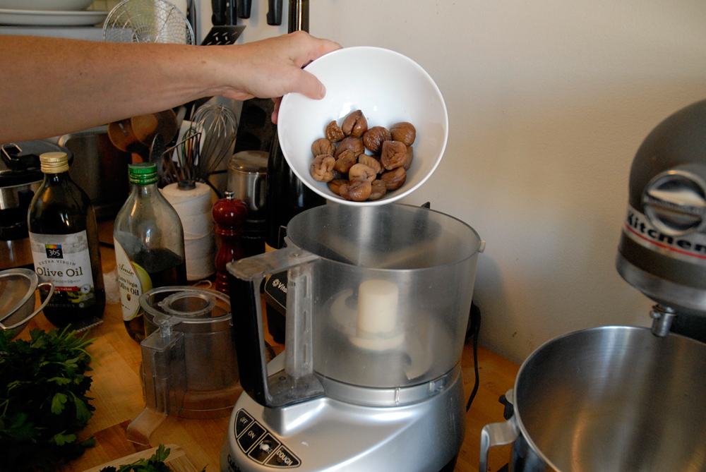 Add the chestnuts to the food processor. Photo: Wendy Goodfriend