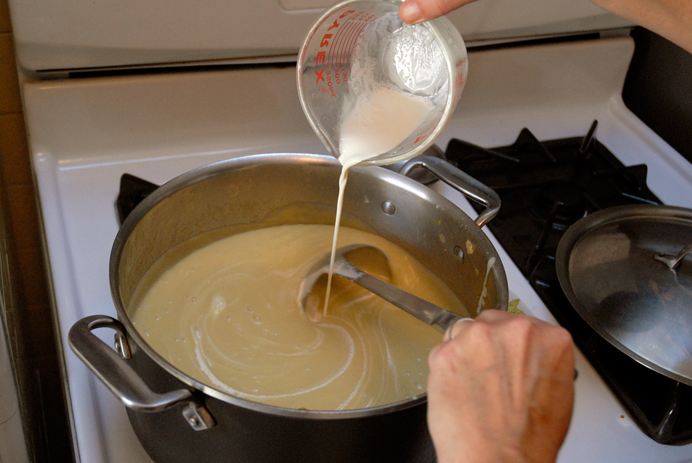 Return the soup to the pot and stir in the cream. Gently re-warm the soup over medium heat. Season with salt and pepper. Photo: Wendy Goodfriend