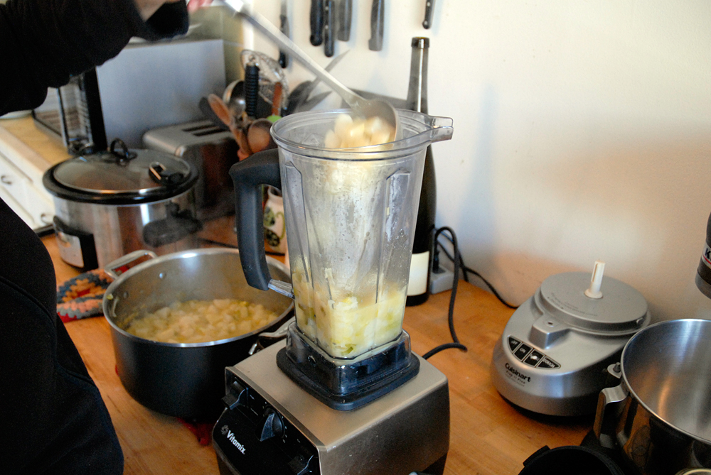In batches, puree the soup in a blender, food processor, or immersion blender. Photo: Wendy Goodfriend
