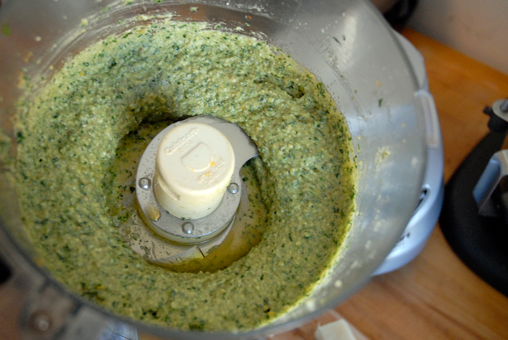Blend until the pesto is the consistency you like. Photo: Wendy Goodfriend