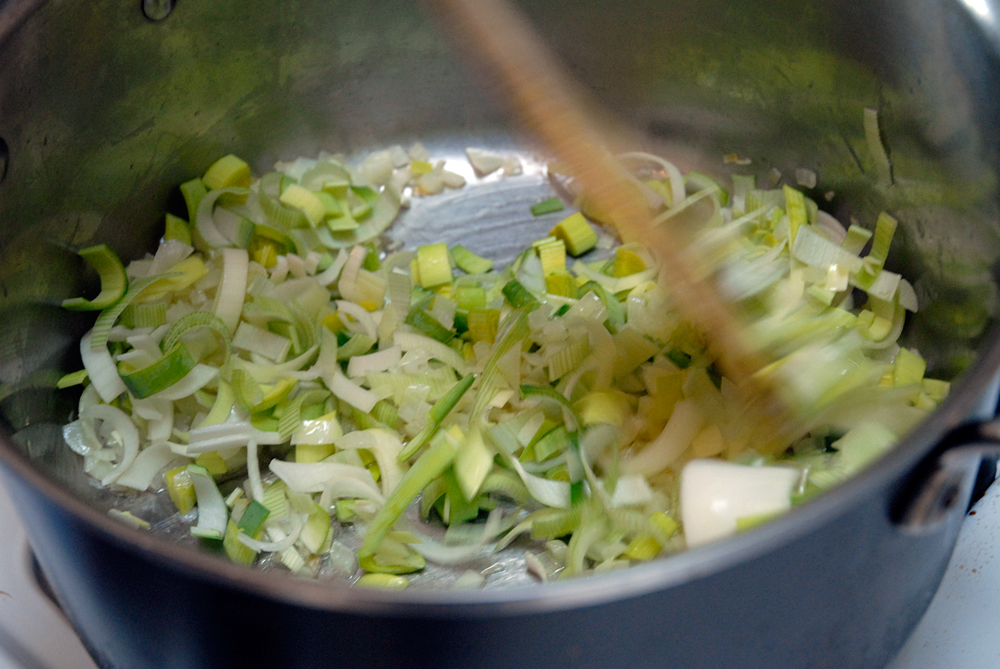 Add the leeks and sauté until starting to get tender, about 5 minutes.Photo: Wendy Goodfriend