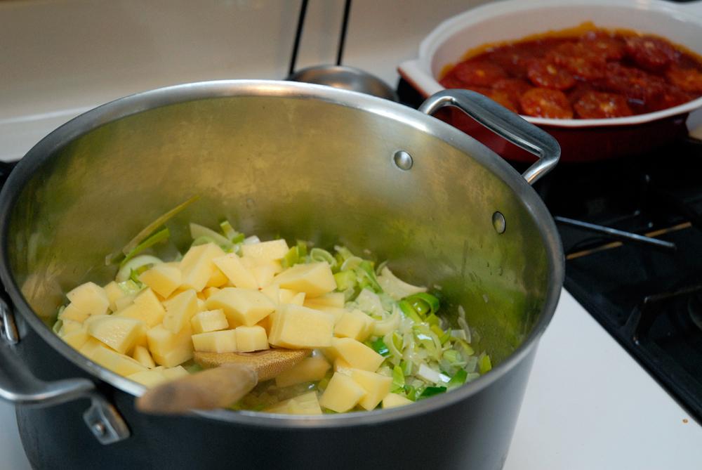 Add the potatoes. Photo: Wendy Goodfriend