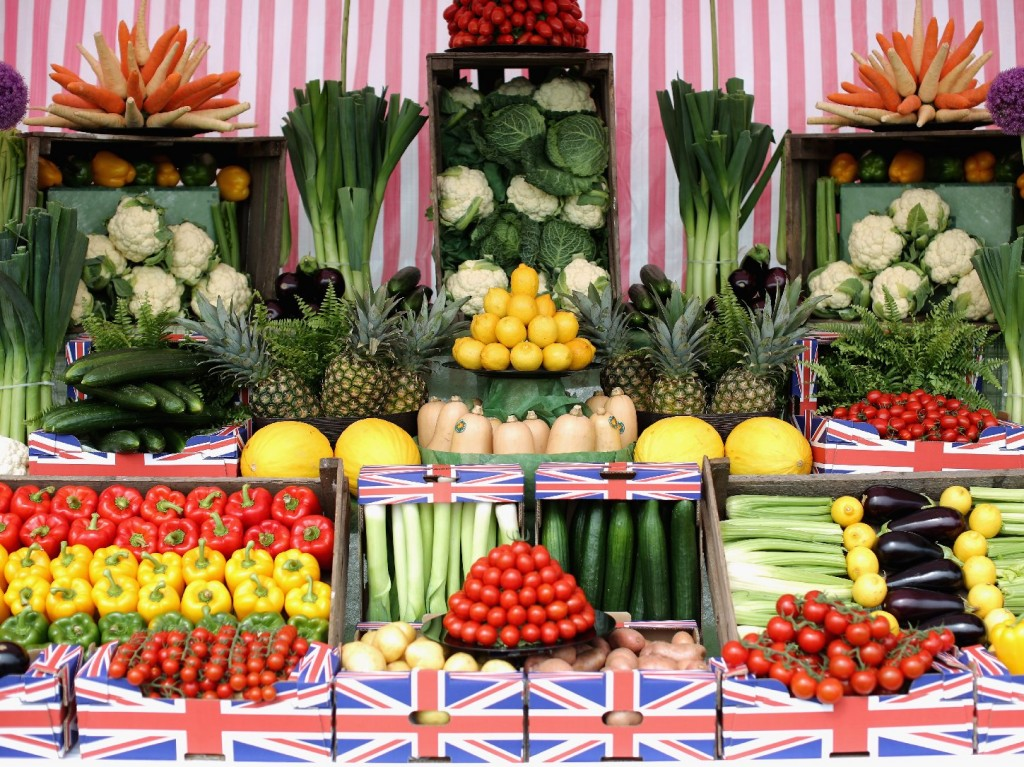 The U.K. has plenty of fresh produce available, such as these vegetables on display at a garden show in Southport, England. But these healthy options cost more in the U.K. than in any other country in Western Europe. Photo: Christopher Furlong/Getty Images