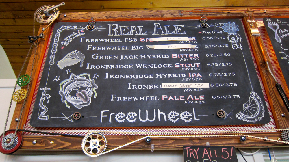 Freewheel Brewery Beer Menu. Photos by Jenny Oh/KQED