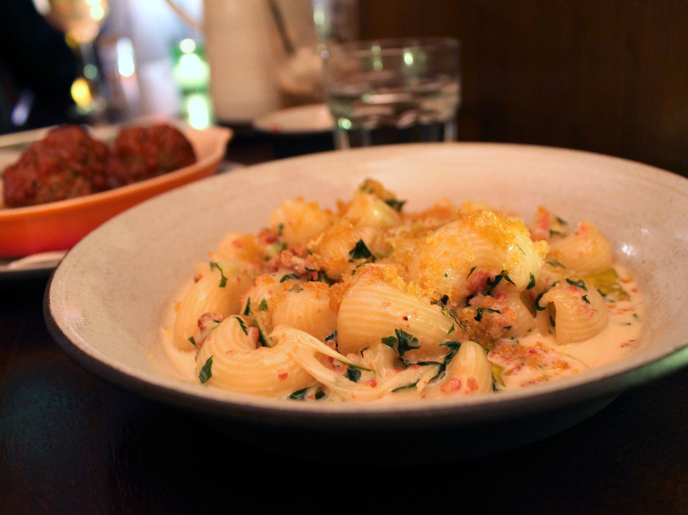 Lumaconi with speck, puntarelle, and lemon breadcrumbs is one of three simple pasta dishes on Tosca's menu. Photo: Kate Williams