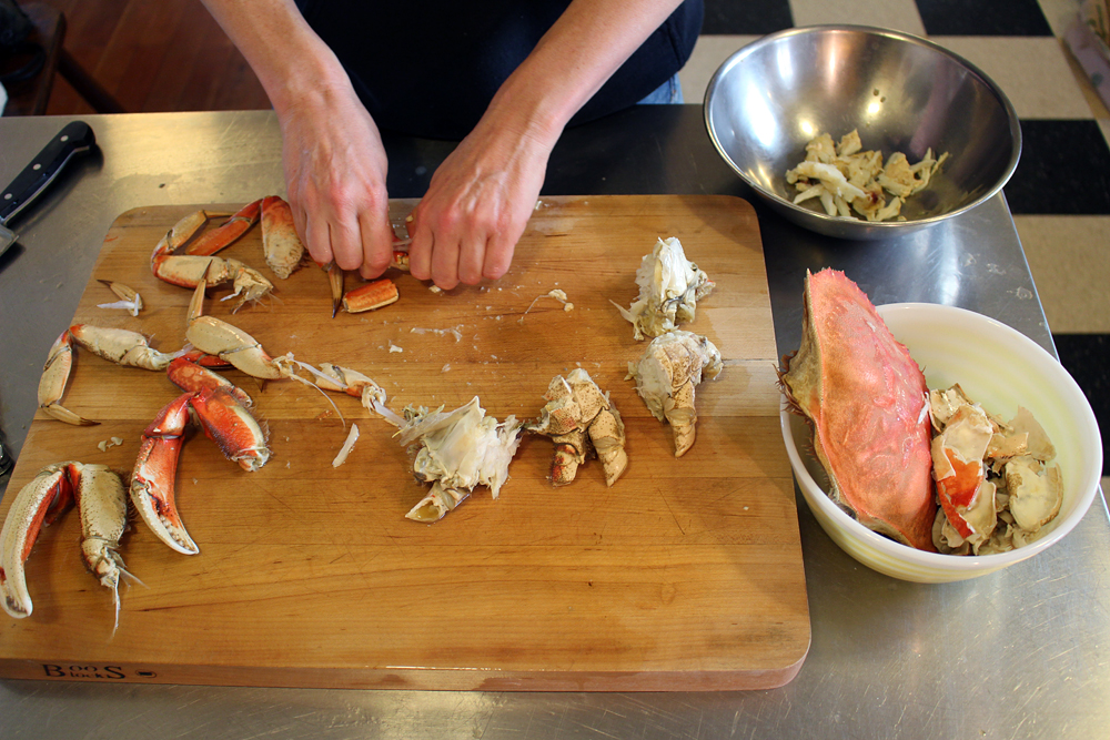 Gently crack the thin shells along the legs to make getting the meat out easier. Photo: Wendy Goodfriend