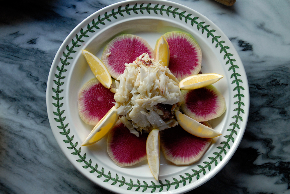 Picked fresh crab meat with watermelon radishes and Meyer lemon wedges. Photo: Wendy Goodfriend