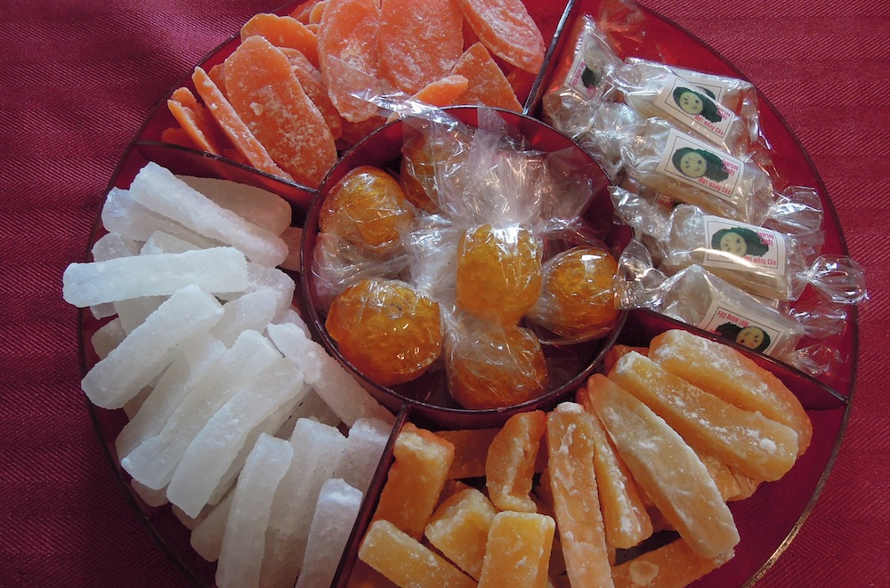 This Sweet Fortune Snack Tray contains candied winter melon, carrots, yam, kumquats and soursop.