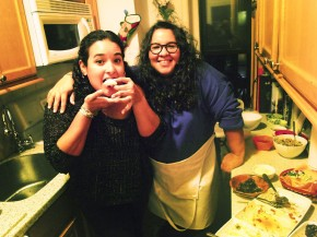 Glori Linares, left, and Victoria Delgado, invited strangers to a dinner party in their apartment in Brooklyn through the site EatWith.com. Photo: Arun Venugopal/WNYC