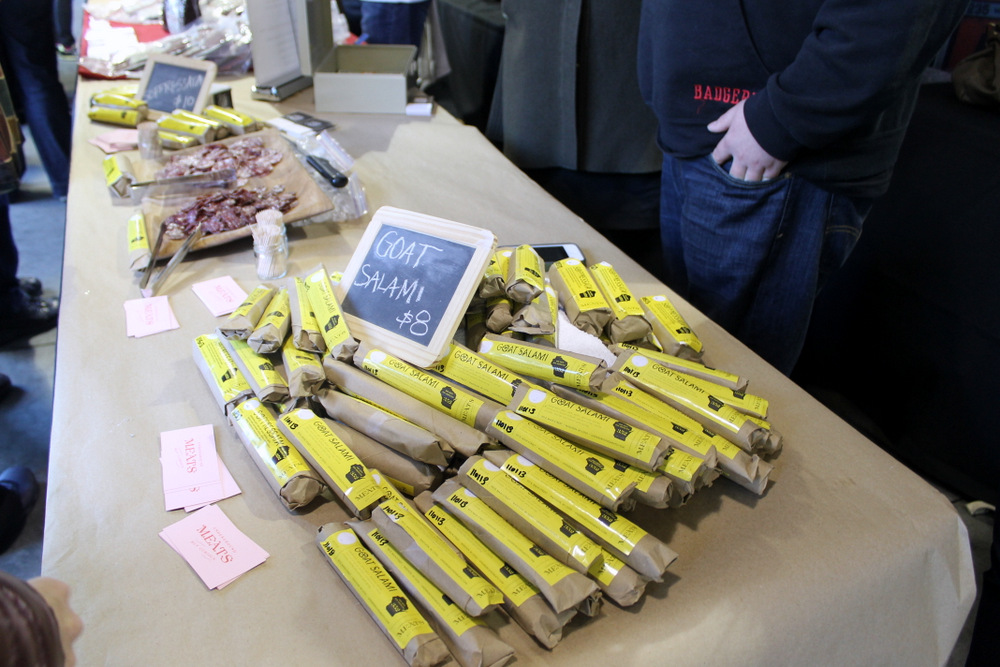 The Underground Meats Collective from Wisconsin was selling the most unique charcuterie item at the marketplace—goat salami. Photo: Kate Williams