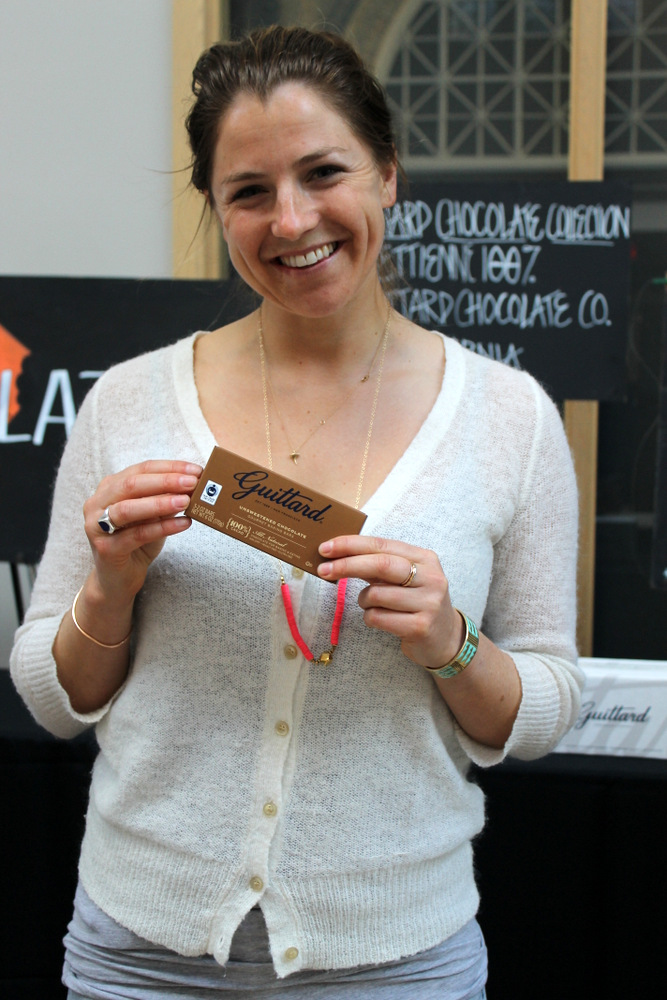 Amy Guittard shows off their 100% cocoa bar, the only San Francisco-area chocolate to win a Good Food Award this year. Photo: Kate Williams