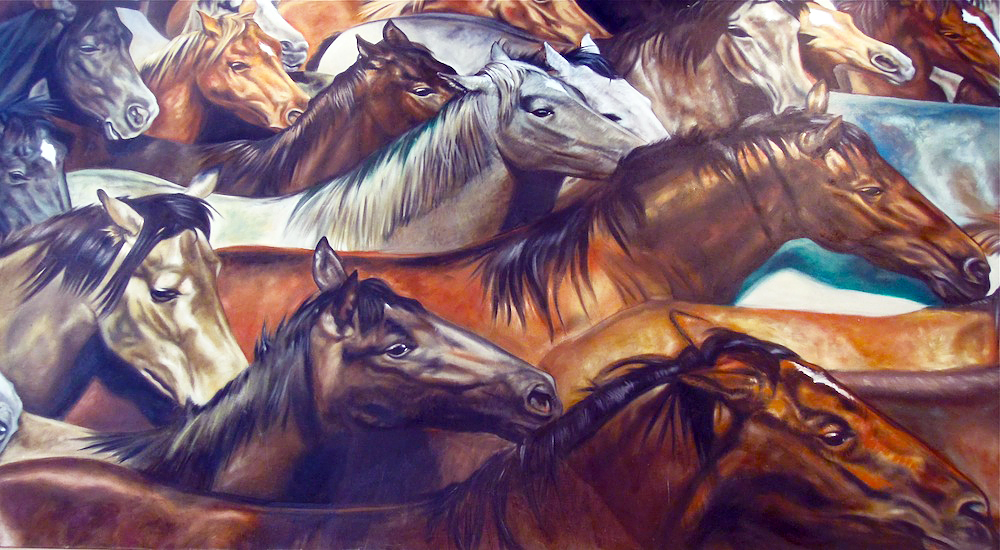 "Giant painting at Oakland's beloved Vietnamese restaurant Le Cheval (French for ""Horse"") welcomes Year of the Horse."