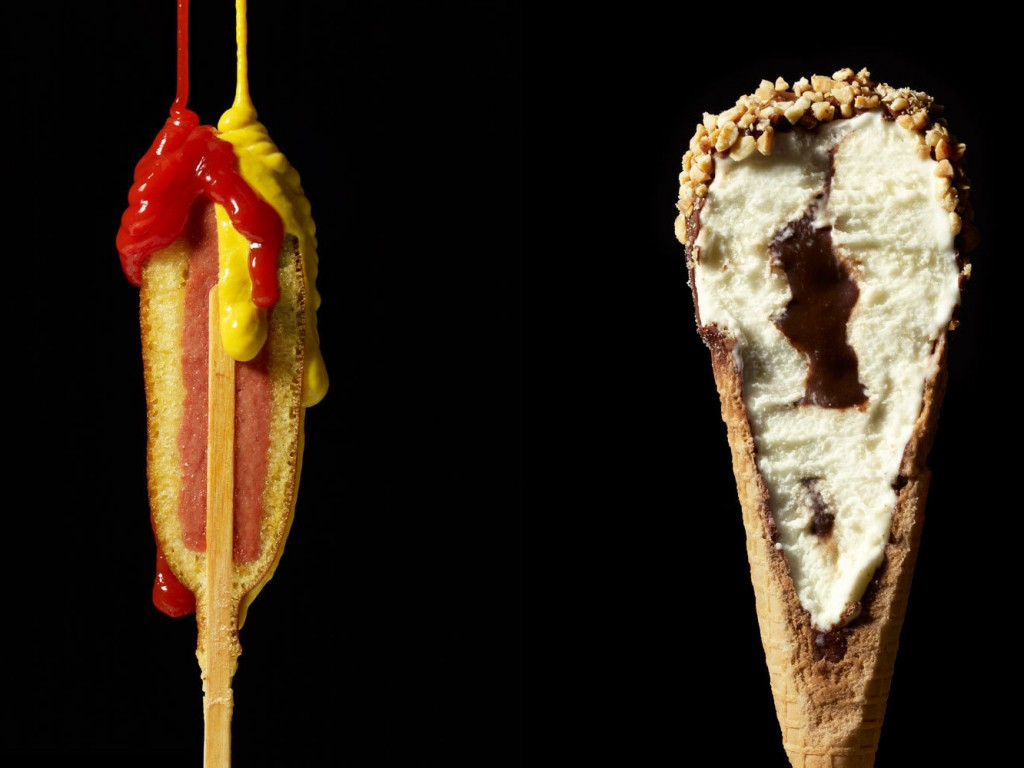 "A hotdog and ice cream cone from Beth Galton and Charlotte Omnes' ""Cut Food"" series. Photo: Courtesy of Beth Galton"