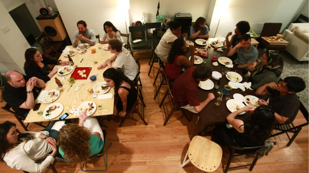 A group gathers in a Ballston, Va., home for a supper club organized through the site Feastly. A new food trend gaining popularity in New York and other cities lets diners enjoy a meal prepared by a stranger in that person's home. Photo: Courtesy of Noah Karesh