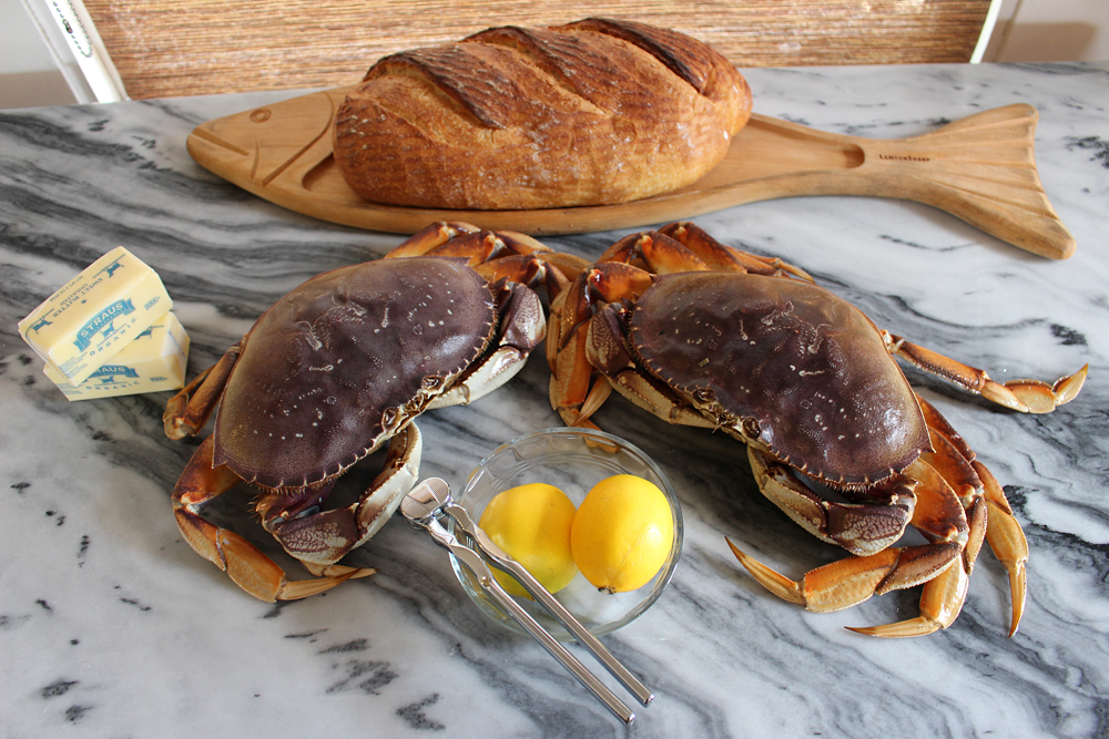 Live crab with basic ingredients for a crabfest. Photo: Wendy Goodfriend