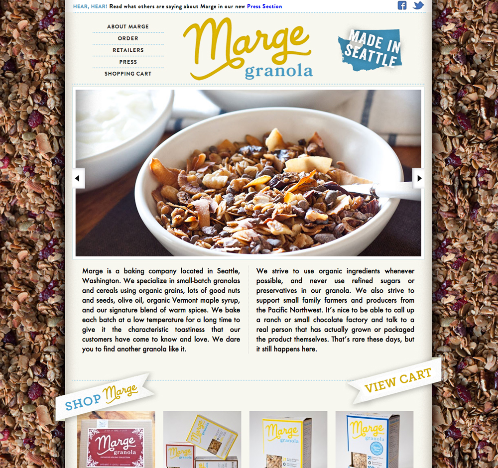 Marge Granola website