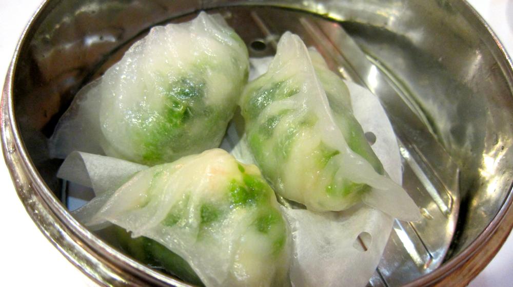 Pea Sprout & Shrimp Dumplings