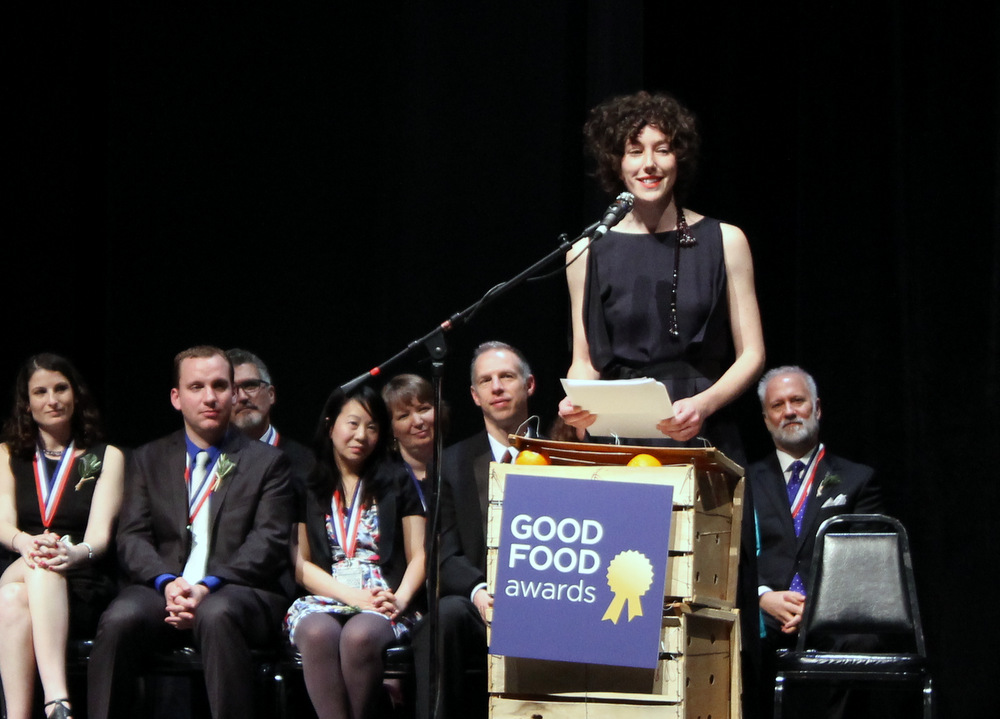 Sarah Weiner, founder of Seedling Projects and the Good Food Awards, spoke on the revolutionary nature of food at the gala on Thursday, January 16. Photo: Kate Williams