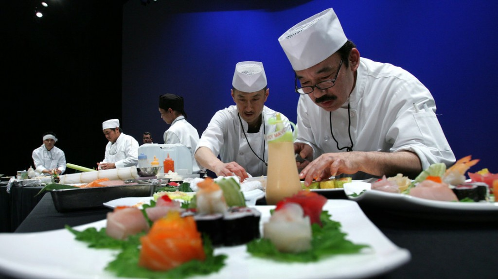 Sushi chefs during the 2008 SushiMasters Los Angeles Regional Competition. Many sushi chefs believe bare hands are essential to their art. Photo: Stefano Paltera/AP